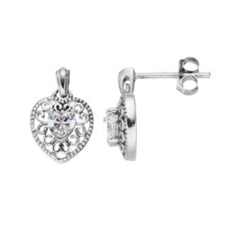 Sterling Silver Cubic Zirconia Filigree Heart Drop Earrings