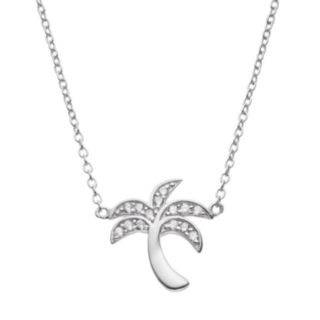 Cubic Zirconia Sterling Silver Palm Tree Necklace