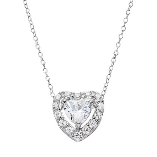 Sterling Silver Cubic Zirconia Heart Halo Pendant Necklace