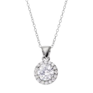 Cubic Zirconia Sterling Silver Halo Pendant Necklace