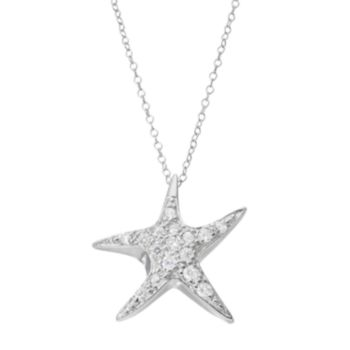 Cubic Zirconia Sterling Silver Starfish Pendant Necklace