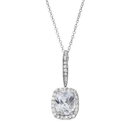 Sterling Silver Cubic Zirconia Halo Pendant Necklace