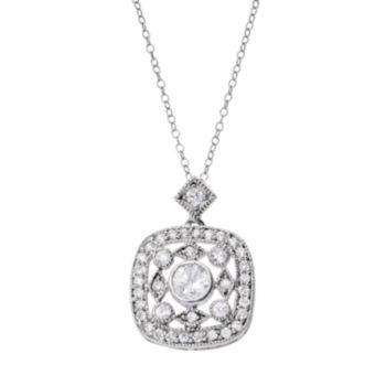 Sterling Silver Cubic Zirconia Cluster Pendant Necklace