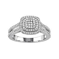 Sterling Silver 1/2 Carat T.W. Diamond Halo Ring