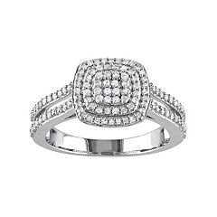 Stella Grace Sterling Silver 1/2 Carat T.W. Diamond Halo Ring