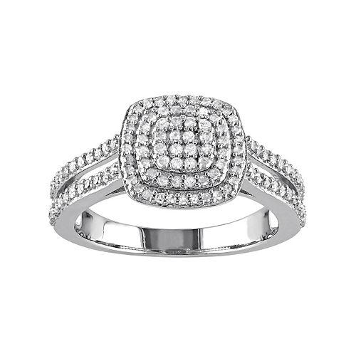 Stella Grace Sterling Silver 1/2 Carat T.W. Diamond Halo Ring