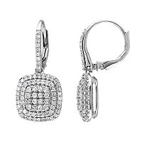 Sterling Silver 1 Carat T.W. Diamond Halo Drop Earrings