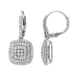 Sterling Silver 1 Carat T.W. Diamond Halo Drop Earrings