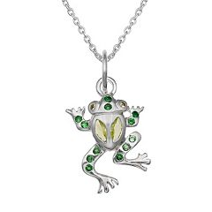 Sterling Silver Cubic Zirconia Frog Pendant Necklace
