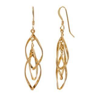 14k Gold Over Silver Twist Drop Earrings