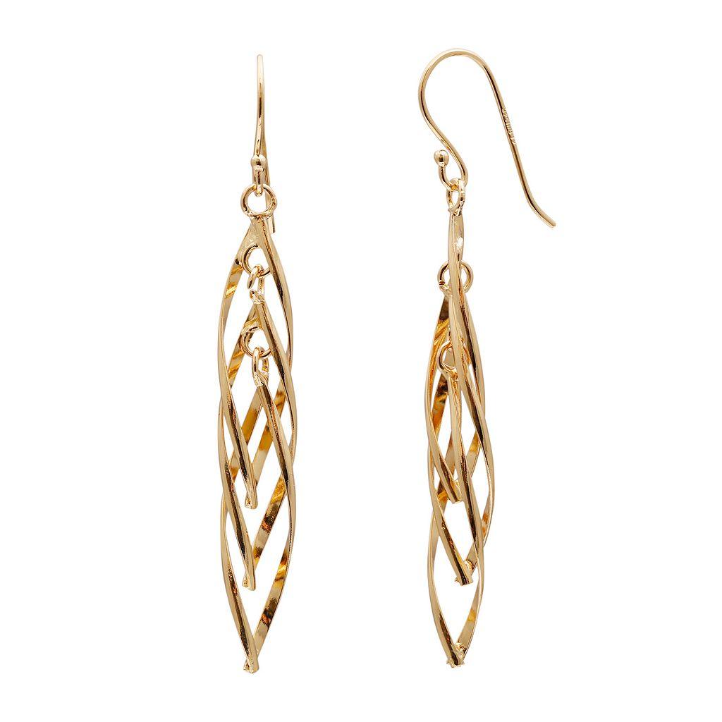 14k Gold Vermeil Twist Drop Earrings