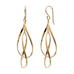 14k Gold Over Silver Twist Teardrop Earrings