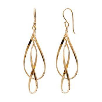 14k Gold Over Silver Twist Teardrop Earrings