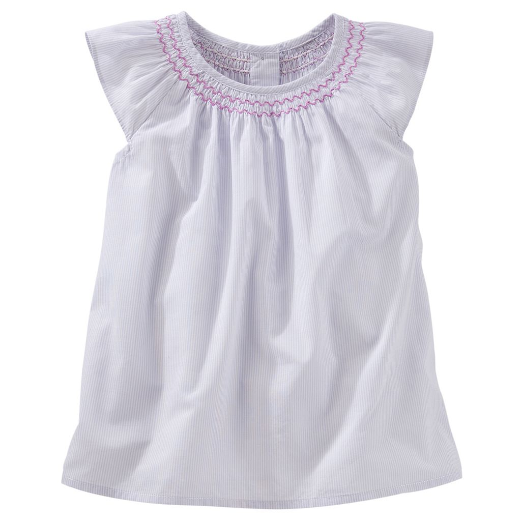 Toddler Girl OshKosh B'gosh® Smocked Poplin Flutter Top