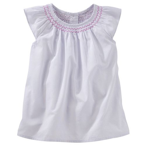 Toddler Girl OshKosh B'gosh® Smocked Poplin Flutter Top