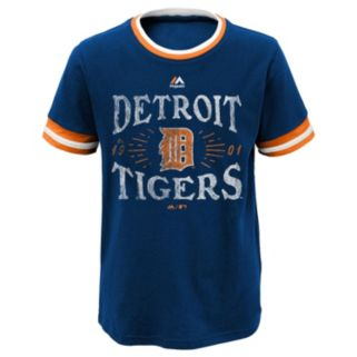 Boys 8-20 Majestic Detroit Tigers Round The Bases Ringer Tee
