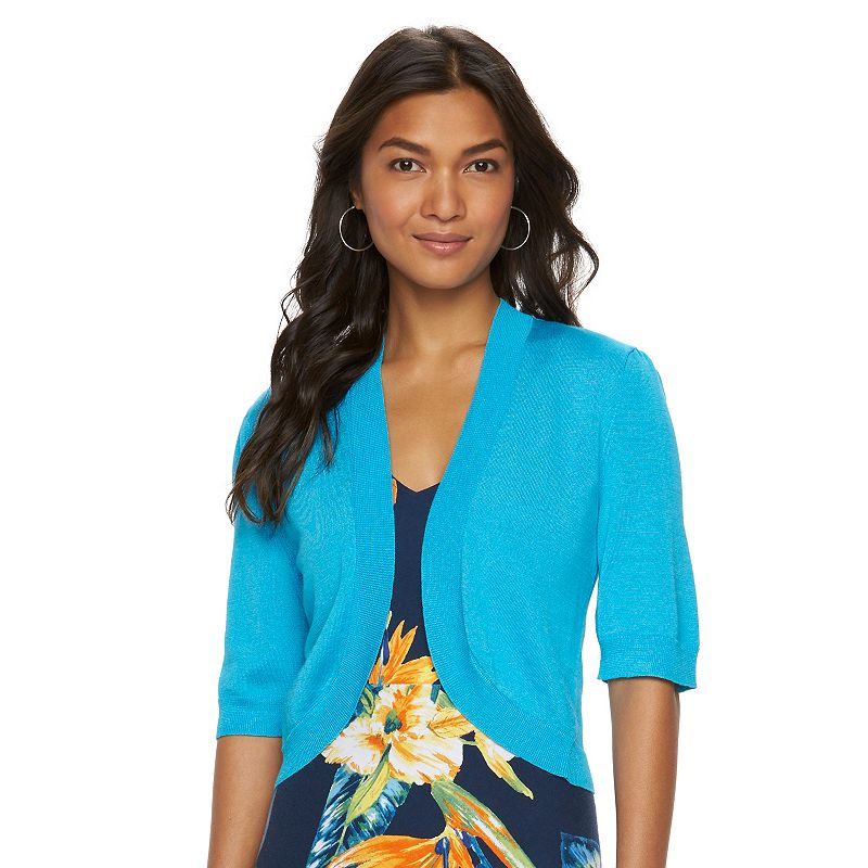 Women's Chaps Solid Cropped Cardigan