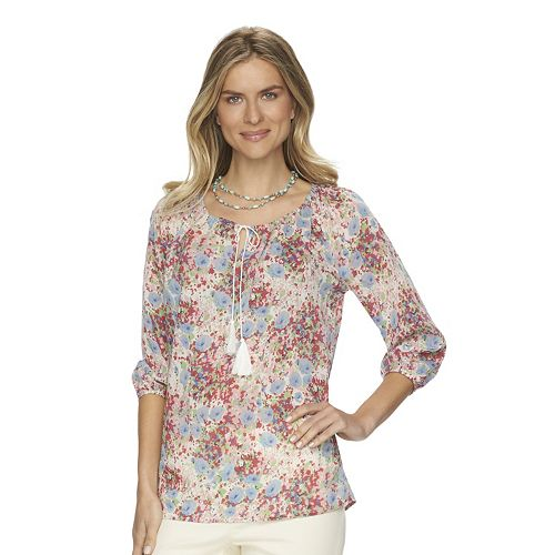 Women's Chaps Crinkled Peasant Top