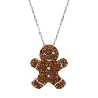 Artistique Sterling Silver Crystal Gingerbread Man Pendant Necklace