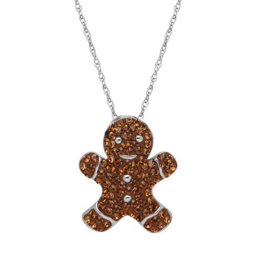 ArtistiqueSterling Silver Crystal Gingerbread Man Pendant Necklace