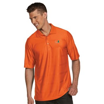 Men's Antigua Miami Hurricanes Illusion Desert Dry Extra-Lite Performance Polo