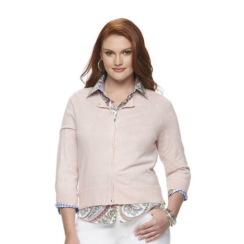 Plus Size Chaps Solid Cardigan