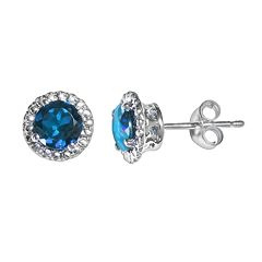London Blue Topaz 10k White Gold Halo Stud Earrings