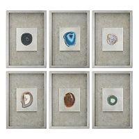 Agate Stone Shadow Box Framed Wall Art 6-piece Set