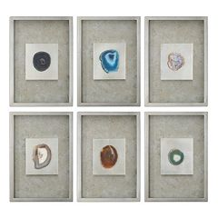Agate Stone Shadow Box Framed Wall Art 6-piece Set