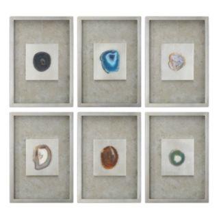 Uttermost Agate Stone Shadow Box Framed Wall Art 6-piece Set