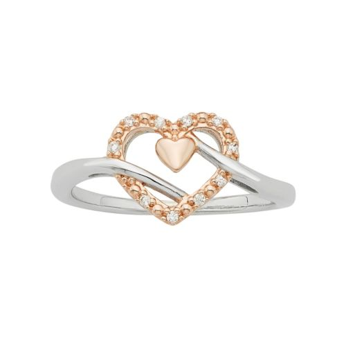 Two Tone Sterling Silver Diamond Accent Double Heart Promise Ring