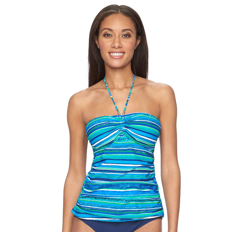 Women's Chaps Striped Ruched Halterkini Top