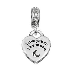 Individuality Beads Sterling Silver 'Love You to the Moon' Heart Charm