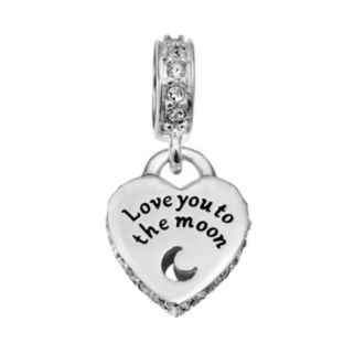 """Individuality Beads Sterling Silver """"Love You to the Moon"""" Heart Charm"""