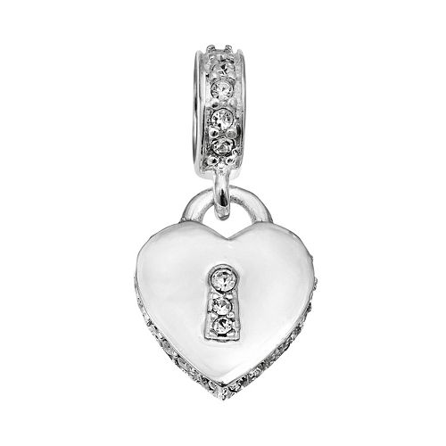 Individuality Beads Sterling Silver Crystal Heart Lock Charm