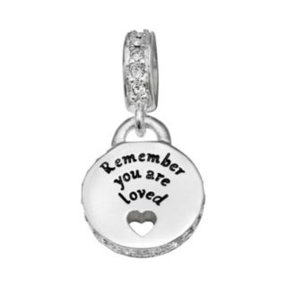 """Individuality Beads Sterling Silver Crystal """"Loved"""" Disc Charm"""
