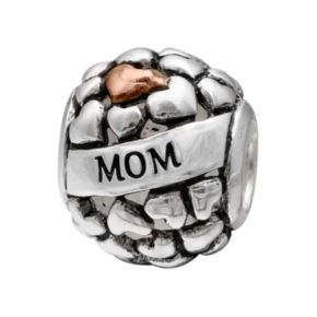 """Individuality Beads Sterling Silver """"Mom"""" Heart Bead"""