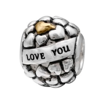 """Individuality Beads Sterling Silver """"Love You To the Moon"""" Heart Bead"""