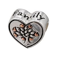 Individuality Beads Two Tone Sterling Silver Family Tree Heart Bead