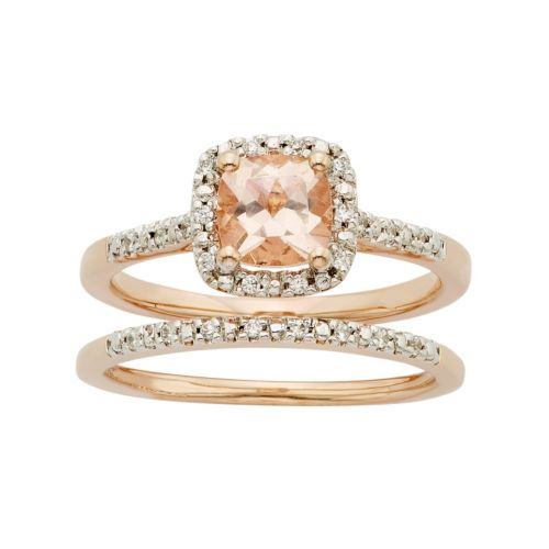 14k Rose Gold Morganite & 1/8 Carat T.W. Diamond Halo Engagement Ring Set