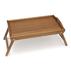 Lipper Foldable Acacia Wood Bed Tray
