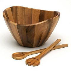 Lipper 3-pc. Acacia Wood Salad Bowl & Server Set