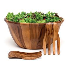 Lipper 3 pc Acacia Wood Salad Bowl & Salad Hands Set