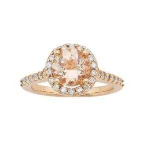 14k Rose Gold Morganite & 1/2 Carat T.W. Diamond Halo Engagement Ring