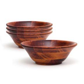Lipper 4-pc. Acacia Wood Rimmed Soup / Cereal Bowl Set