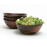Lipper Wavy 4 pc Acacia Wood Soup / Cereal Bowl Set