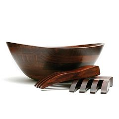 Lipper Wavy 3 pc Acacia Wood Salad Bowl & Server Set