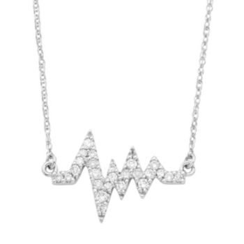 14k White Gold 1/6 Carat T.W. Diamond Heartbeat Necklace