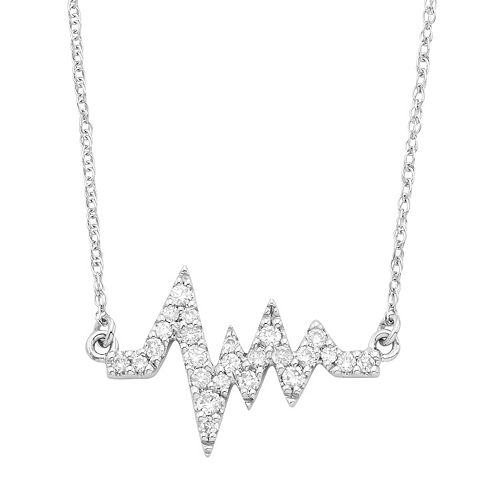 14k White Gold 1/6 Carat T.W. Diamond Heartbeat Necklace