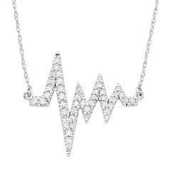 14k White Gold 1/3 Carat T.W. Diamond Heartbeat Necklace